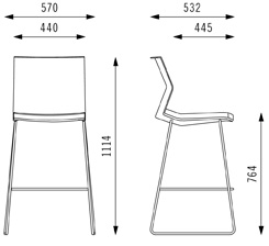 Bar Counter Height In Mm : Side Barstool Options & dimensions - Bene Office Furniture