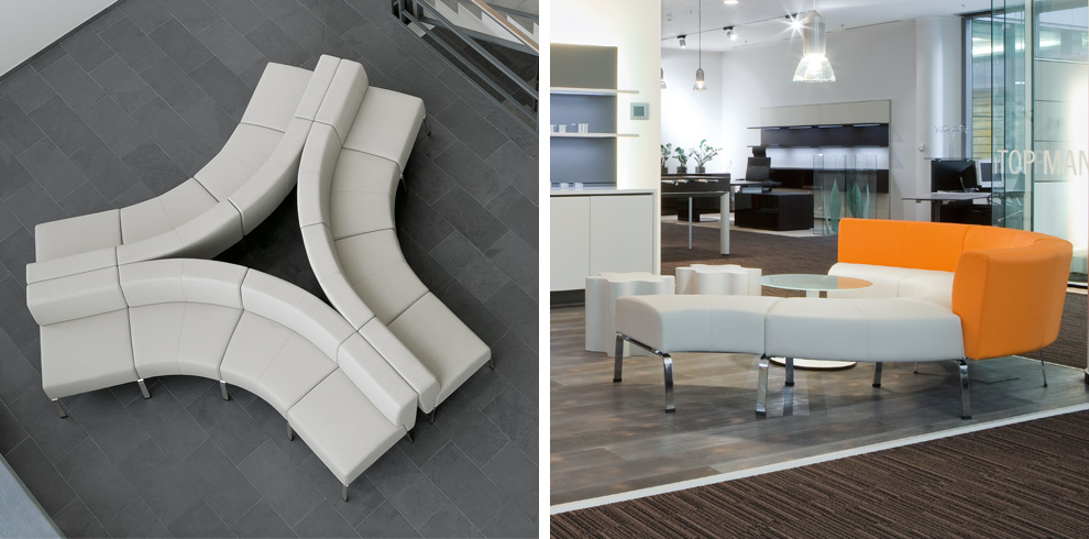 Coffice bene office furniture for Curved lounge