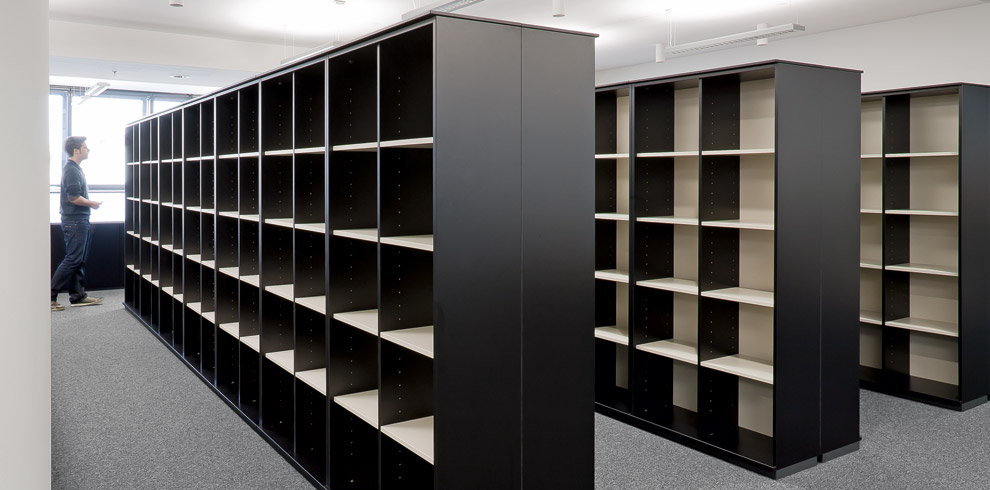 Open K2 storage shelves as library