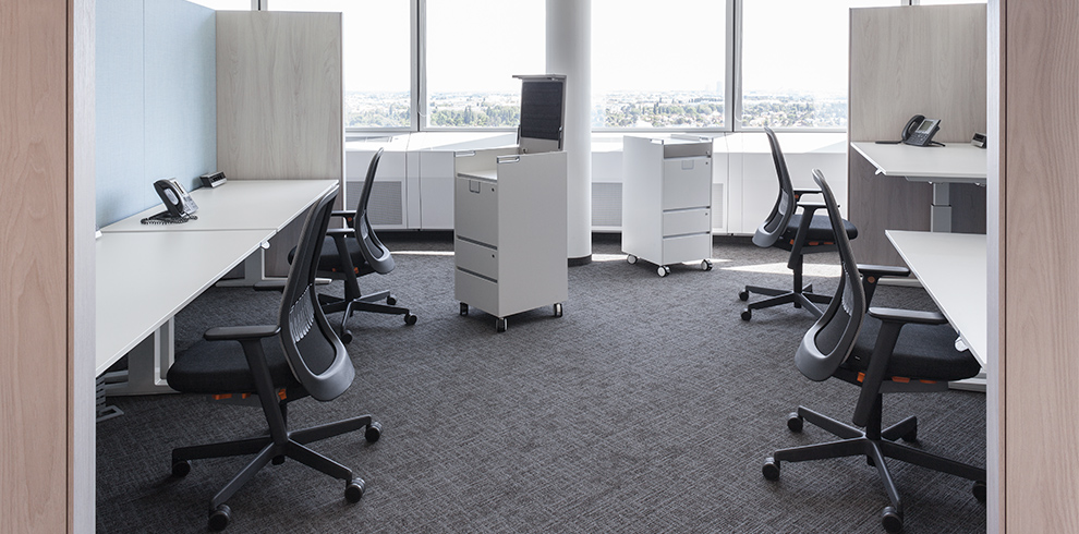 Lift Desks, RIYA swivel chairs & T-Caddys