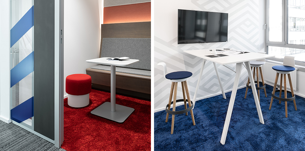 Meeting areas with column meeting table, PARCS PopUp stool or DELTA high & TIMBA Stools