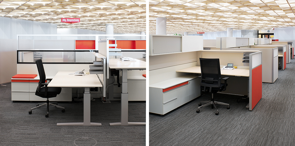 Workspace with T-Lift Desk, T-Platform, K2 Storage and B_Run swivel chair