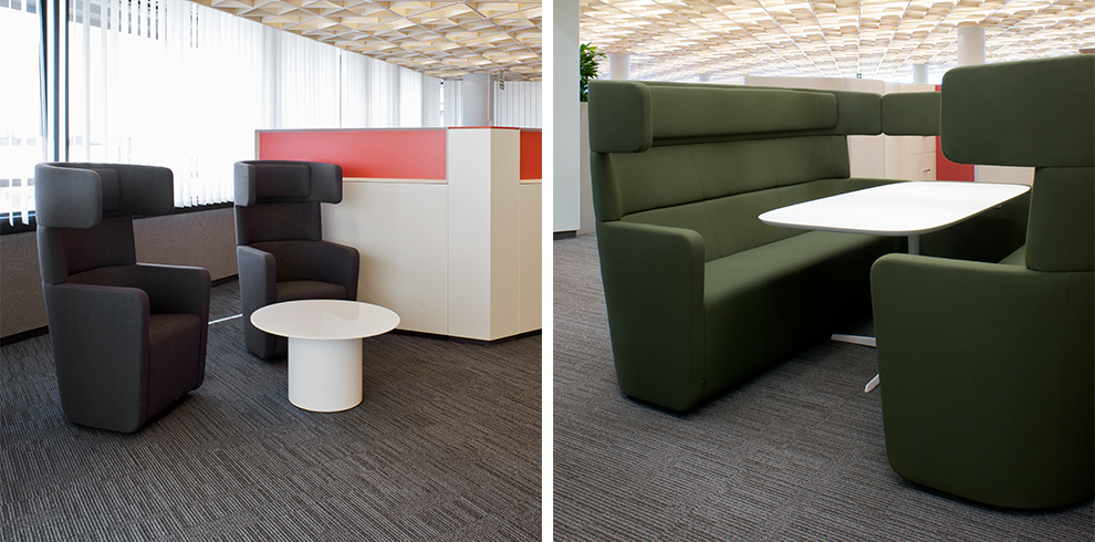 Left: PARCS Wing Chairs & Cylinder Table. Right: PARCS Amercian Diner