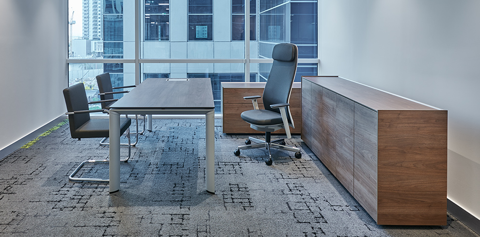 Office with AL management table & AL storage, RIYA swivel chair & DEXTER visitor chairs